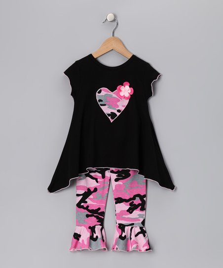 Black Heart Top & Capri Pants - Girls