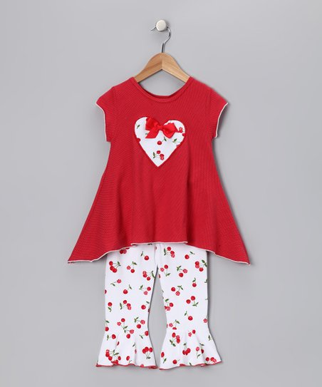 Red Cherry Top & Capri Pants - Toddler & Girls