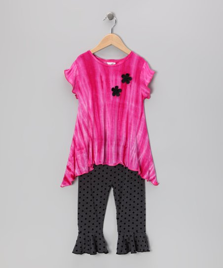 Fuchsia Tie-Dye Sidetail Top & Capri Pants - Toddler & Girls
