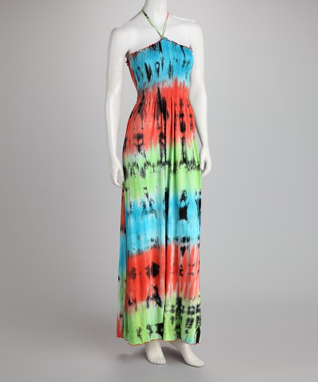 Lime & Coral Tie-Dye Halter Dress