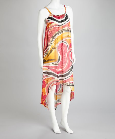 Pink & Orange Abstract Hi-Low Dress