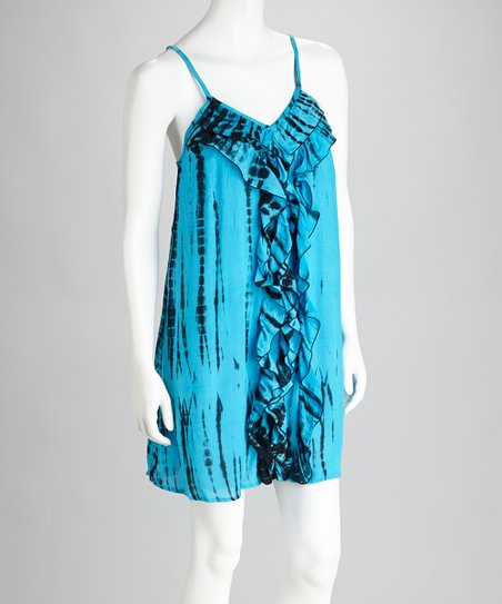 Turquoise & Black Ruffle Tie-Dye Dress