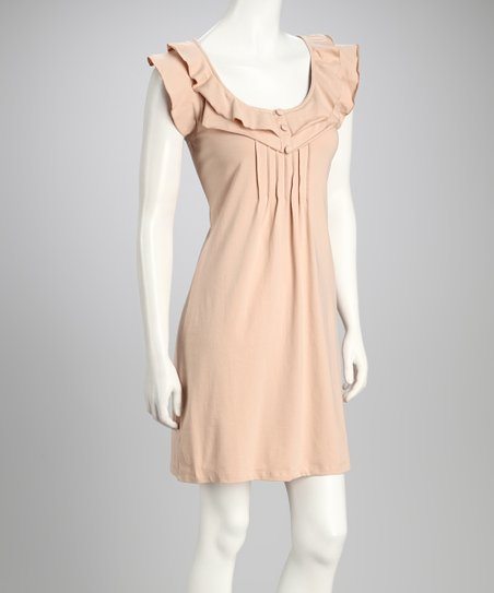 Khaki Angel-Sleeve Dress