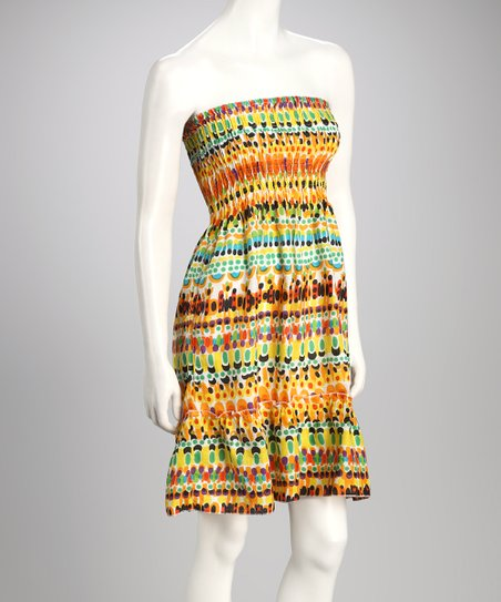 Yellow & Orange Paint Strapless Dress