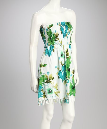Green Floral Shirred Strapless Dress