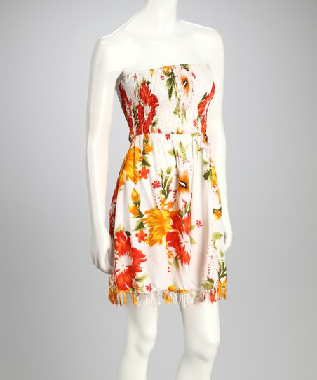 Yellow Floral Shirred Strapless Dress