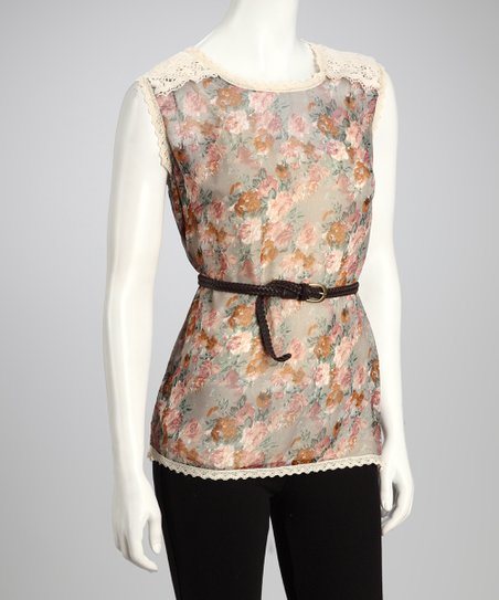Gray & Coral Floral Belted Top