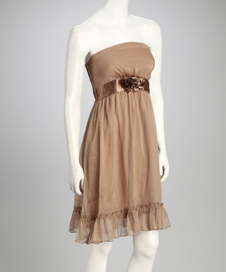 Khaki Ribbon Strapless Dress