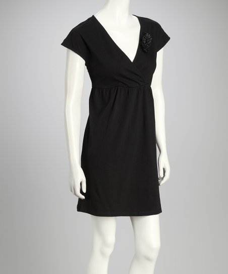 Black Rosette Surplice Dress