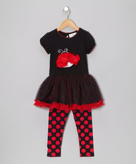 Black & Red Ladybug Tunic & Polka Dot Leggings - Toddler & Girls