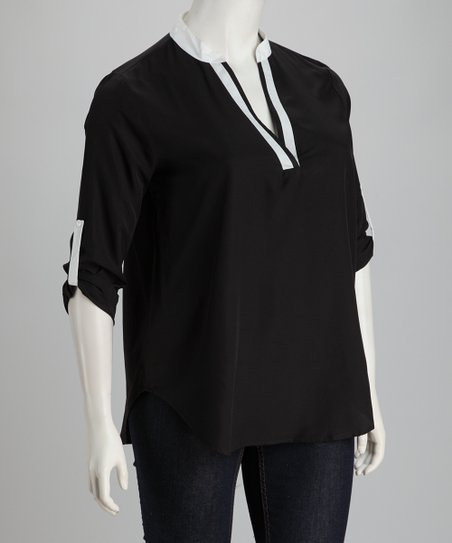 Black & White Plus-Size V-Neck Top