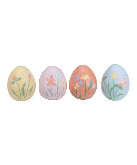 Pastel Floral Egg Figurine Set