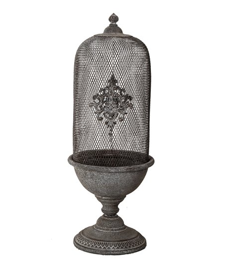 Antique Gray Fleur-de-lis Birdcage Planter