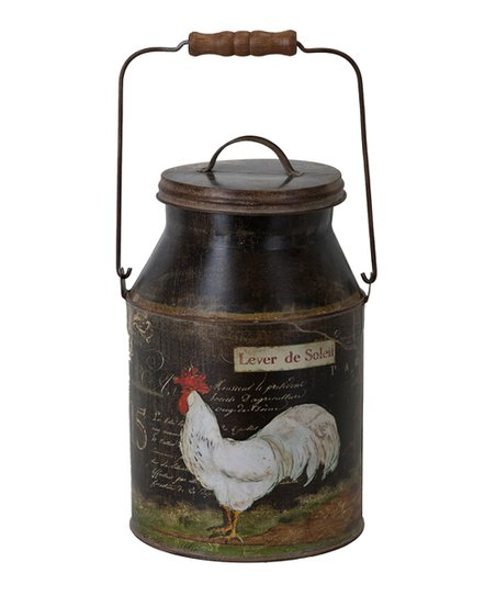 Black French Rooster Milk Can