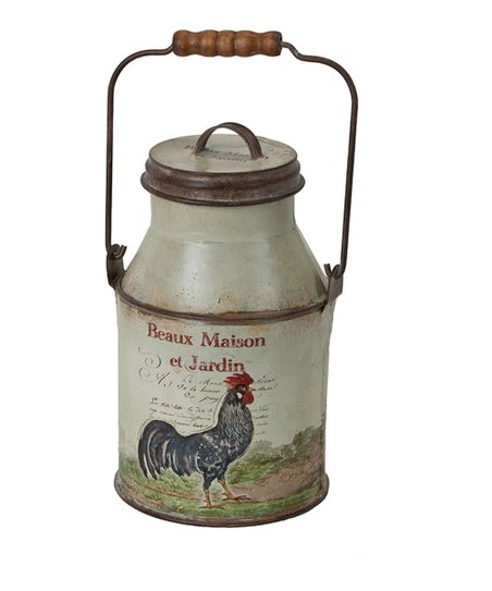 Antique White French Rooster Milk Can