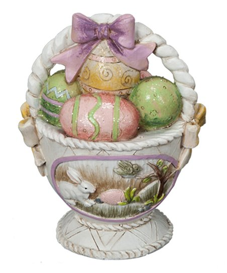 Purple Easter Basket & Egg Figurine