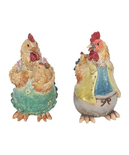 Chicken & Rooster Family Figurine Set