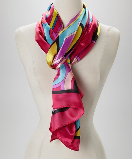 Pink & Blue Abstract Silk-Blend Scarf