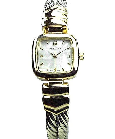 Gold & White Cuff Watch