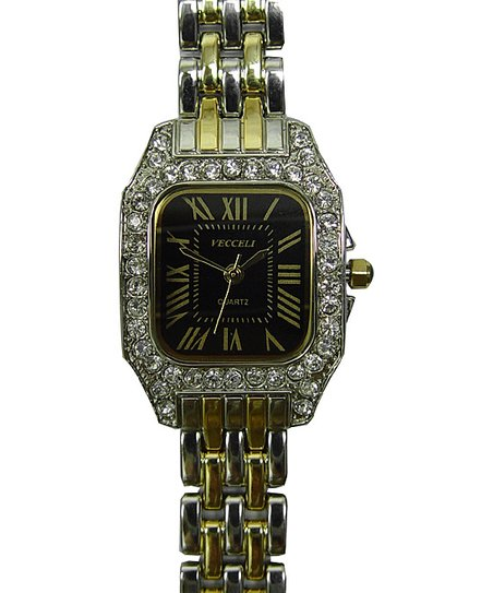 Gold &amp; Black Rectangle Crystal Watch