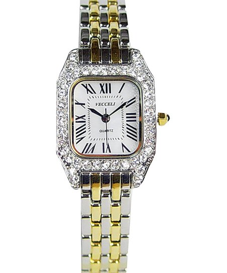Gold Rectangle Crystal Watch