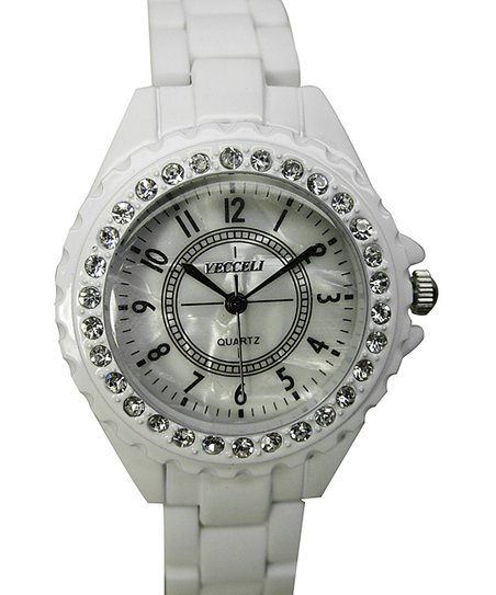 White Crystal Circle Link Watch