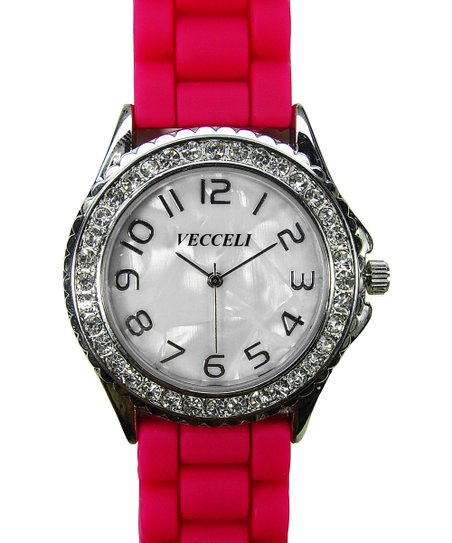 Pink Crystal Link Watch