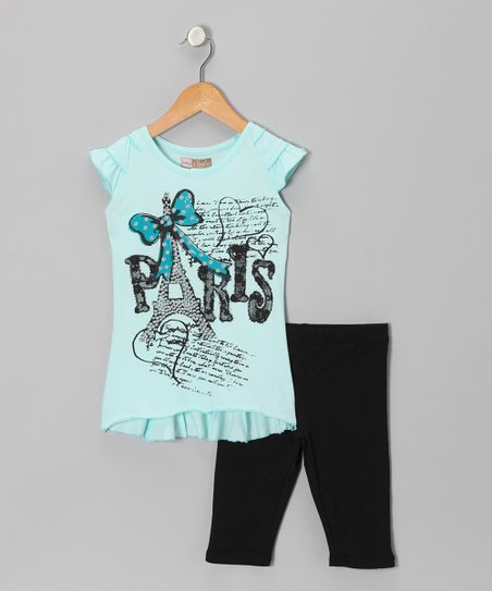 Turquoise 'Paris' Tunic & Black Shorts - Toddler