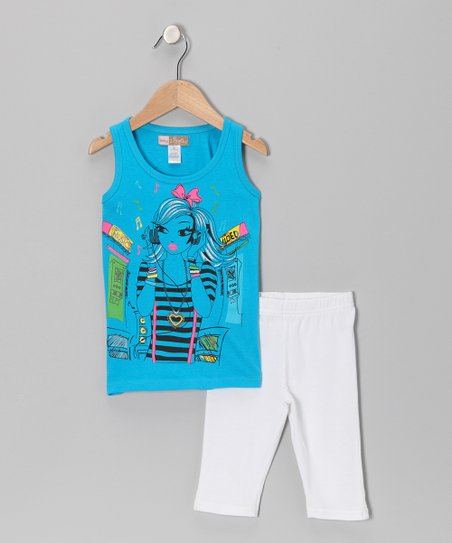 Blue Girl Tank & White Shorts - Toddler