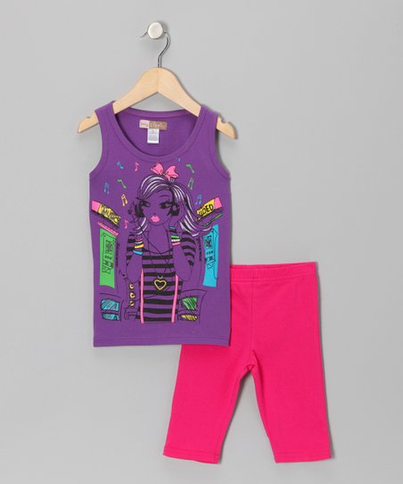Purple Girl Tank & Fuchsia Bike Shorts - Toddler