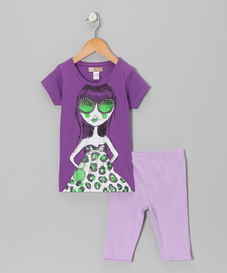 Purple Girl Tee & Bike Shorts - Toddler