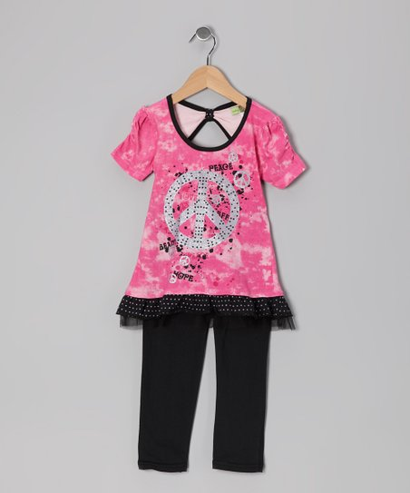 Pink & Black Peace Sign Tunic & Leggings - Toddler