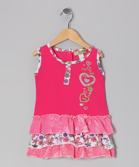 Fuchsia Heart Tiered Ruffle Dress - Toddler