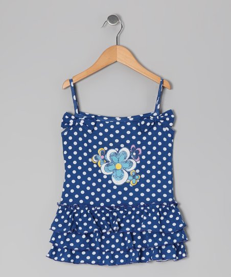 Blue Polka Dot Flower Dress - Toddler