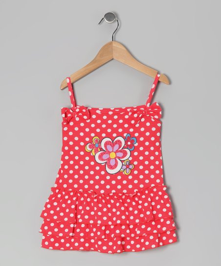 Pink Polka Dot Flower Dress - Toddler
