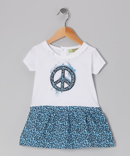 Blue & White Cheetah Peace Sign Dress - Toddler