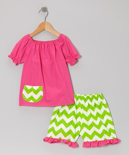 Pink & Green Zigzag Top & Shorts - Infant, Toddler & Girls
