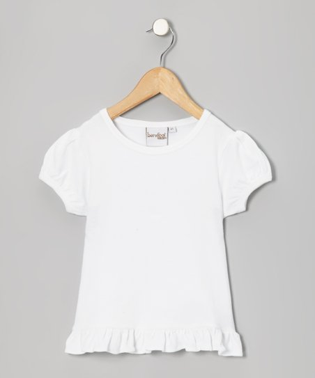 White Ruffle-Hem Cap-Sleeve Top – Infant & Girls