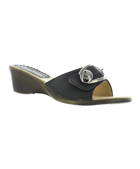 Black Buckle Annie Slide
