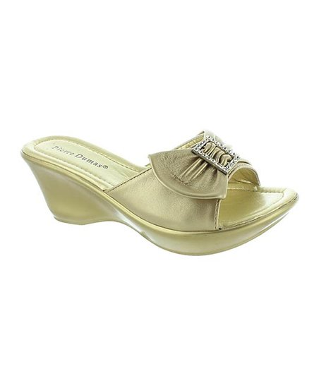 Gold Bow Affair Slide Wedge