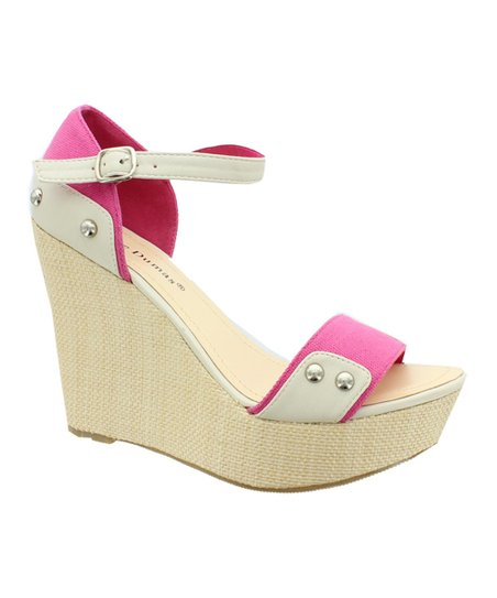 Pink & White Patty Wedge Sandal