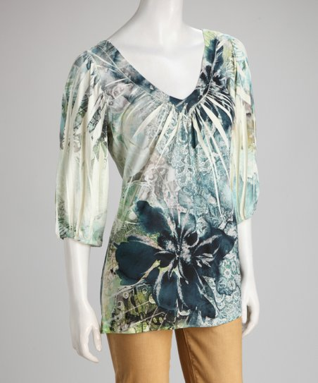 Teal & White Floral Sublimation Cutout Top