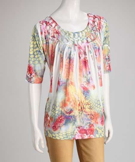 Red & Yellow Floral Sublimation Scoop-Neck Top