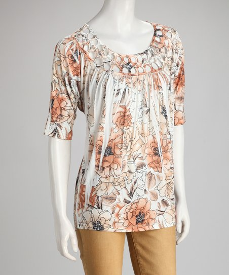 Peach Floral Sublimation Scoop Neck Top