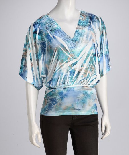 Blue Watercolor Sublimation Dolman Top