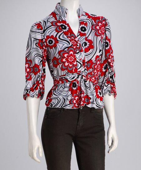 Red & Black Floral Button-Up Top
