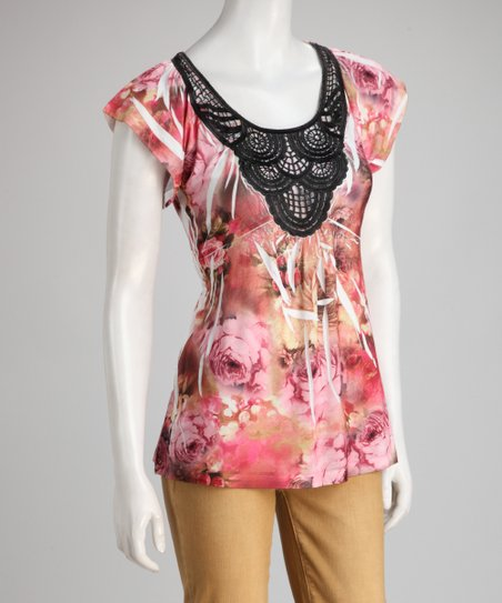 Rust & Pink Rose Sublimation Crocheted Top