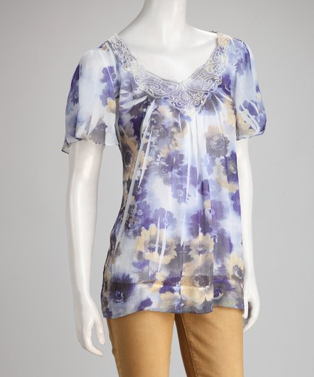 Purple Hazy Floral Sublimation Crocheted Top