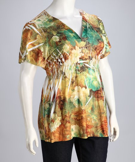 Green & Rust Floral Top - Plus