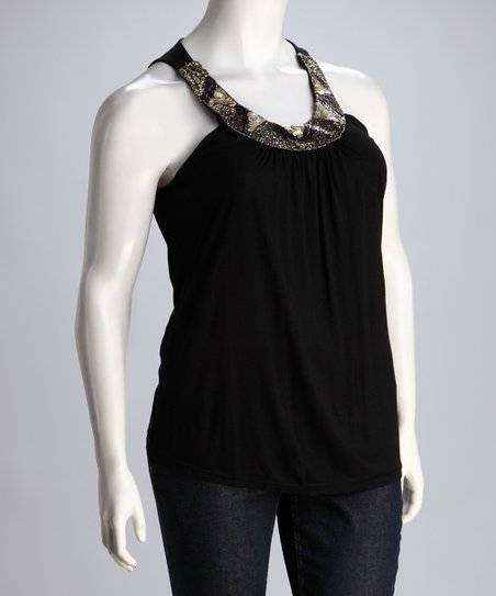 Black Beaded Tank - Plus